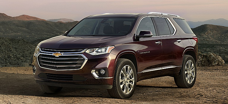 2018 Chevy Traverse maroon front side view