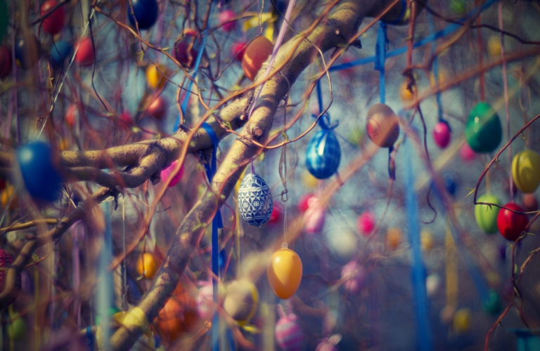Easter eggs hanging from tree branches