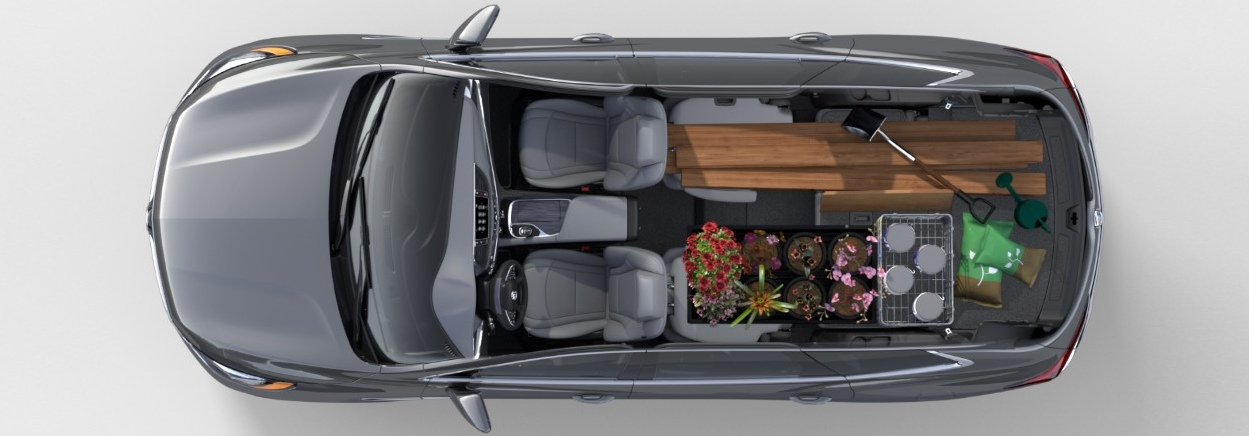2018 Buick Enclave silver top view with cargo