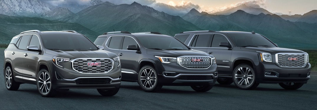 2018 GMC Denali SUV lineup in black