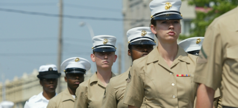Military cadets in tan marching