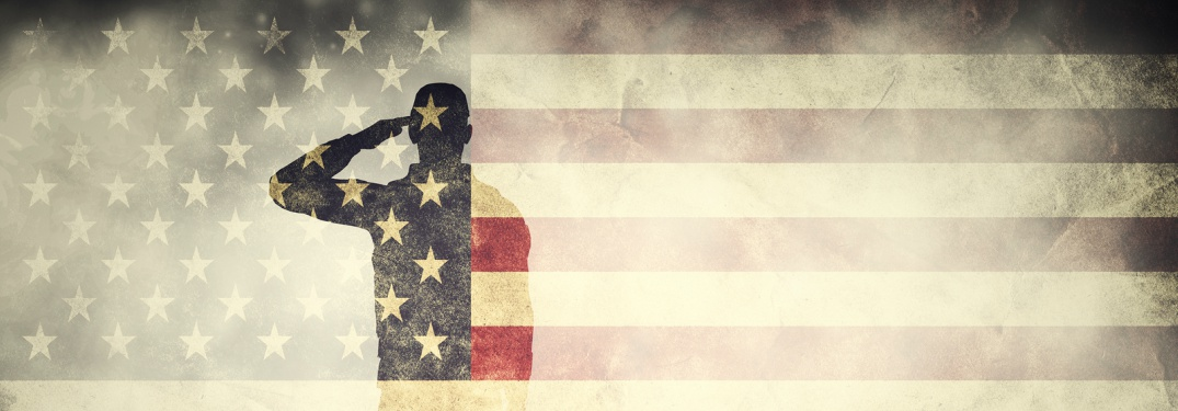 double exposure of a soldier and an American flag