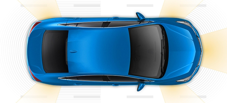 2018 Chevy Cruze blue with safety tech operating