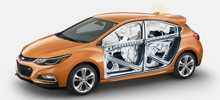 2018 Chevy Cruze orange with airbags deployed