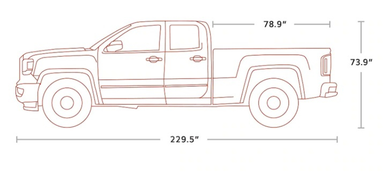 2018 GMC Sierra 1500 Double Cab side view diagram