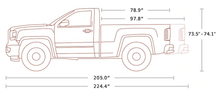 2018 GMC Sierra 1500 Regular Cab side view diagram
