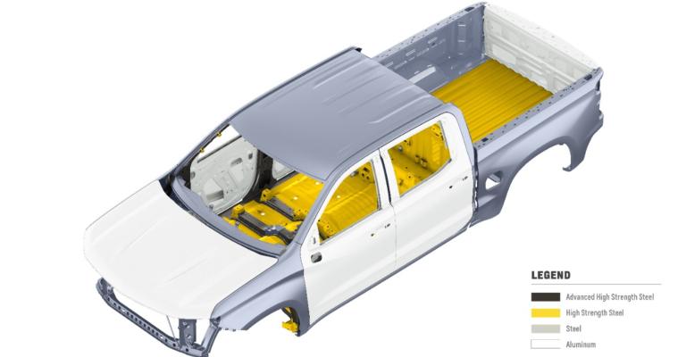 2019 Chevy Silverado 1500 body with metal overlay