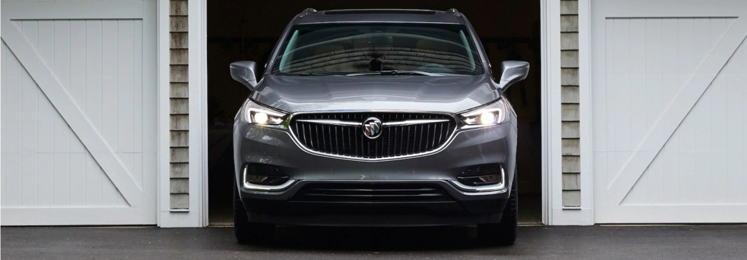 2019 Buick Enclave silver front view in a garage