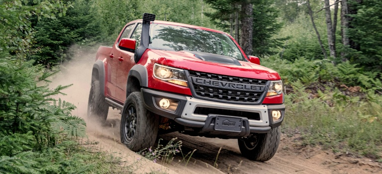 2019 Chevy Colorado ZR2 Bison red front view on trail