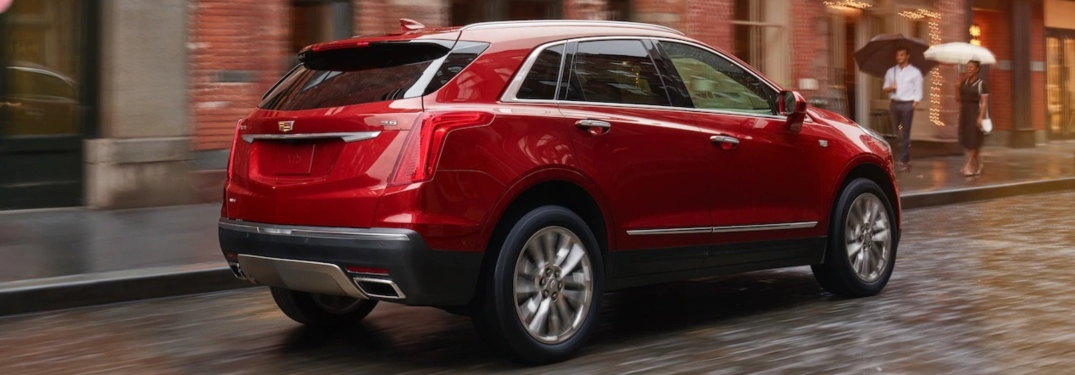 2019 Cadillac XT5 red side back view
