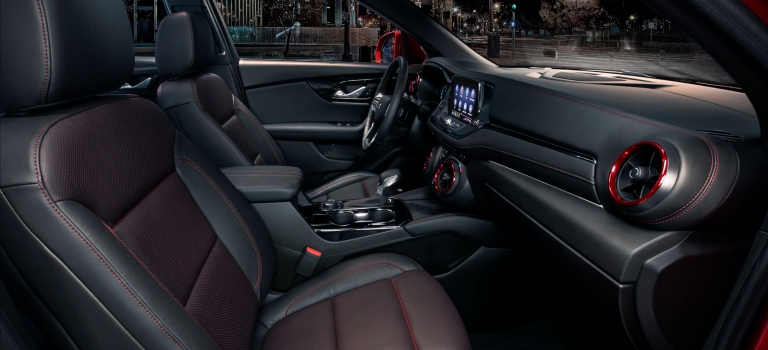 2019 Chevy Blazer black and red leather front seats