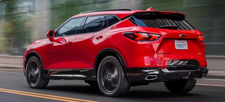 2019 Chevy Blazer red back side view