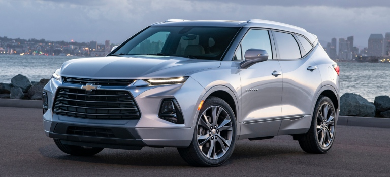 2019 Chevy Blazer silver side view