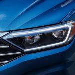 Closeup on the new LED headlights on the 2019 Volkswagen Jetta