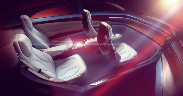 Interior of the Volkswagen I.D. VIZZION concept without a steering wheel or driver controls