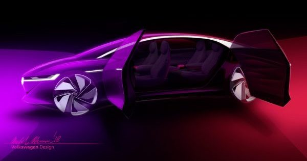 Side profile with doors open on the Volkswagen I.D. VIZZION concept with purple and red light on a black background