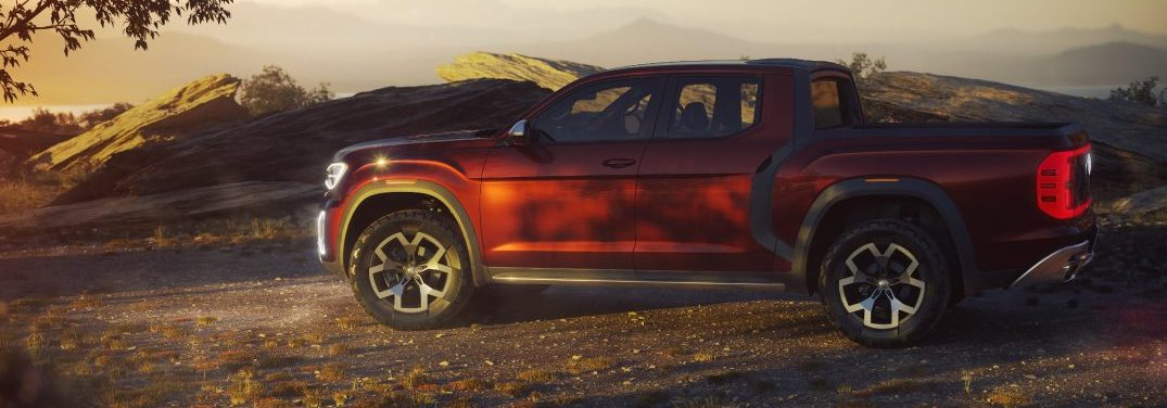 Side profile of the Volkswagen Atlas Tanoak pickup concept parked under a tree