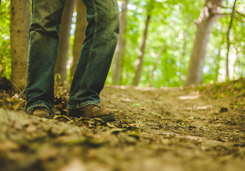 feet walking on a hiking trail in a forest