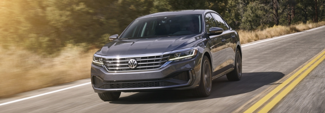 front quarter view of 2020 VW Passat driving on highway