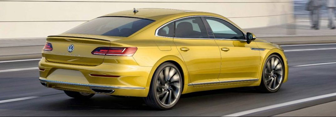 exterior profile of the 2019 VW Arteon in yellow
