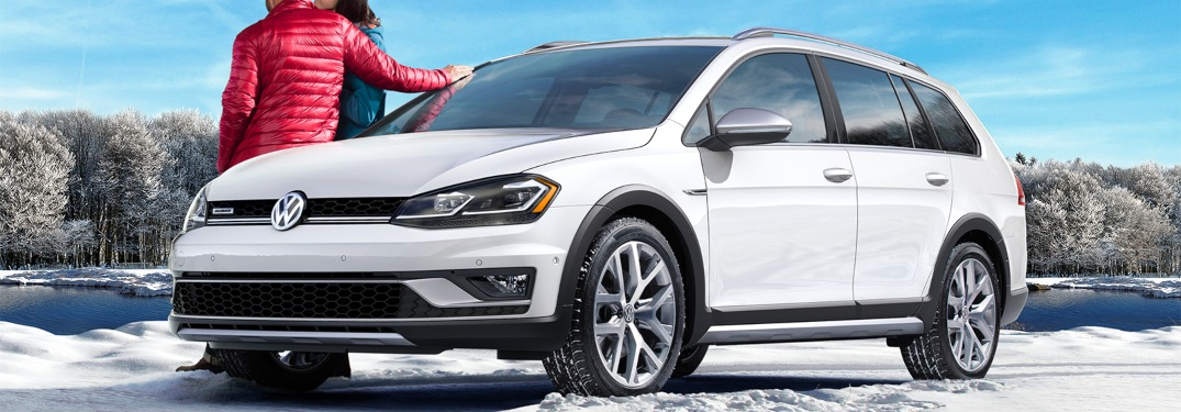 2019 VW Golf Alltrack white side view in the snow