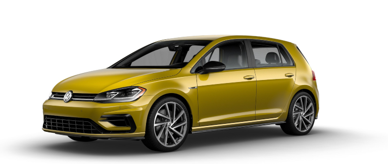 2019 Volkswagen Golf R Curry Yellow side view