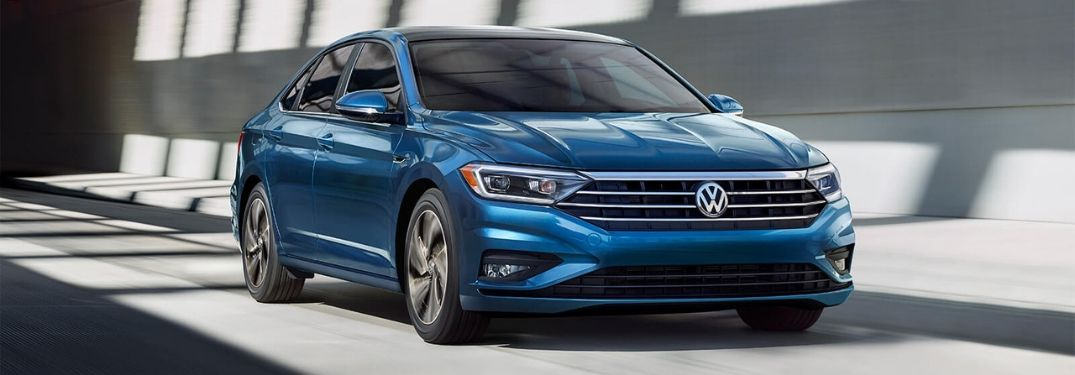 2020 Blue VW Jetta from front passenger side angle