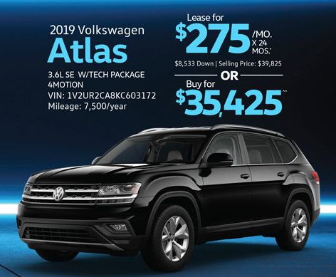 Current offers on a 2019 Volkswagen Atlas for the Elgin VW Black Friday event.