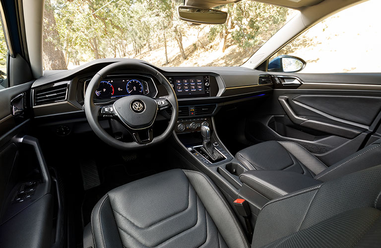 Interior front region of a 2019 Volkswagne Jetta.