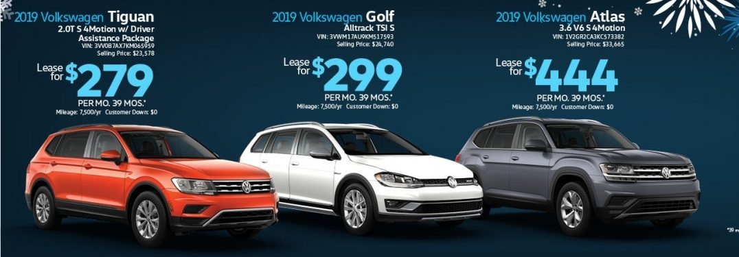 Details on three VW details with special lease offers for December 2019.