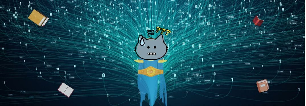 A cat spirit searches for a manual in the depths of the internet, but shrugs in despair.