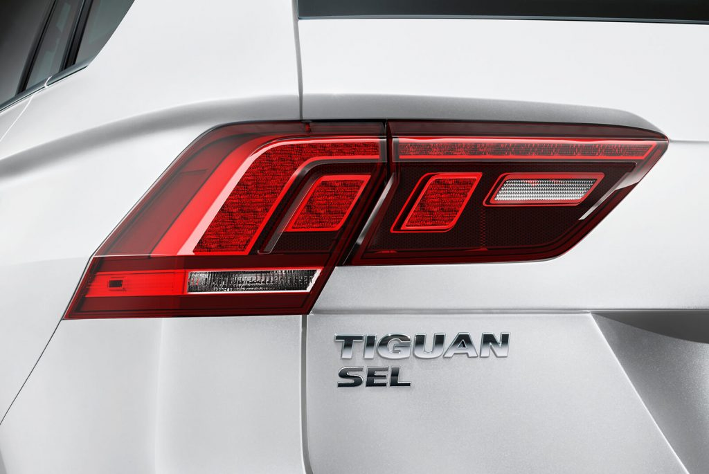 Close-up on the LED taillight of a 2020 Tiguan SEL