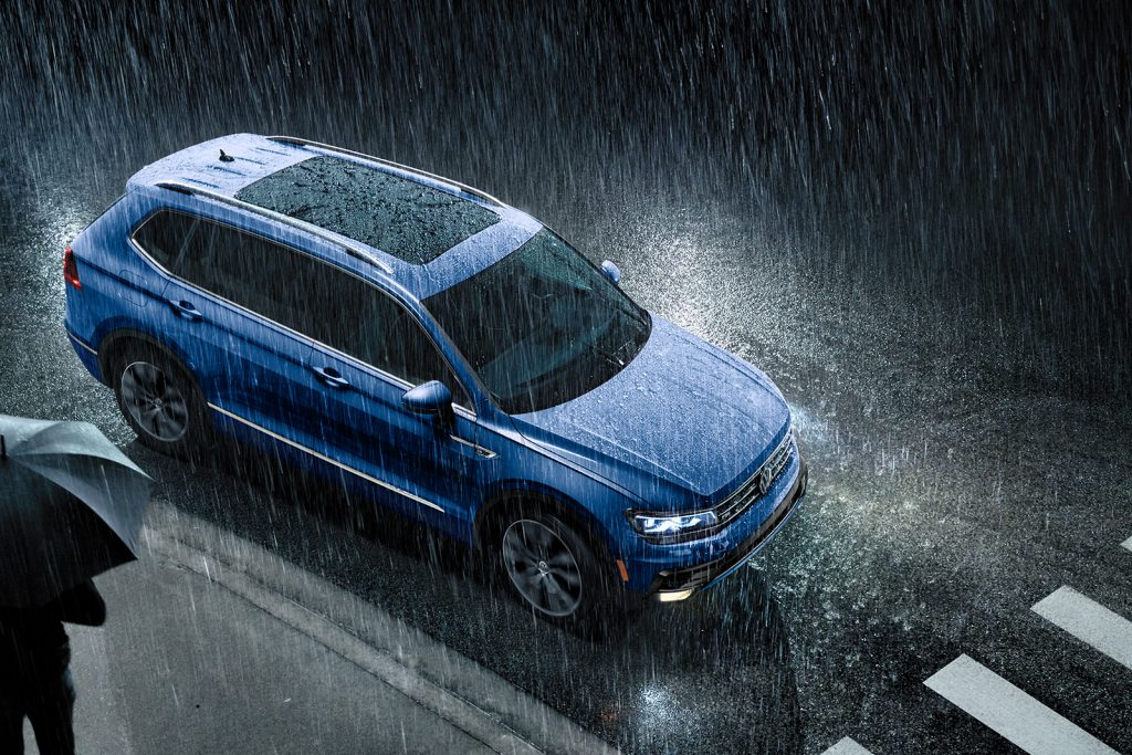 2020 Volkswagen Tiguan from above in the pouring rain