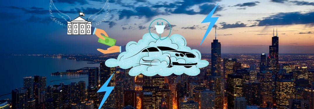 A hybrid car is embodied in a cloud over Chicago as a government entity gives it money