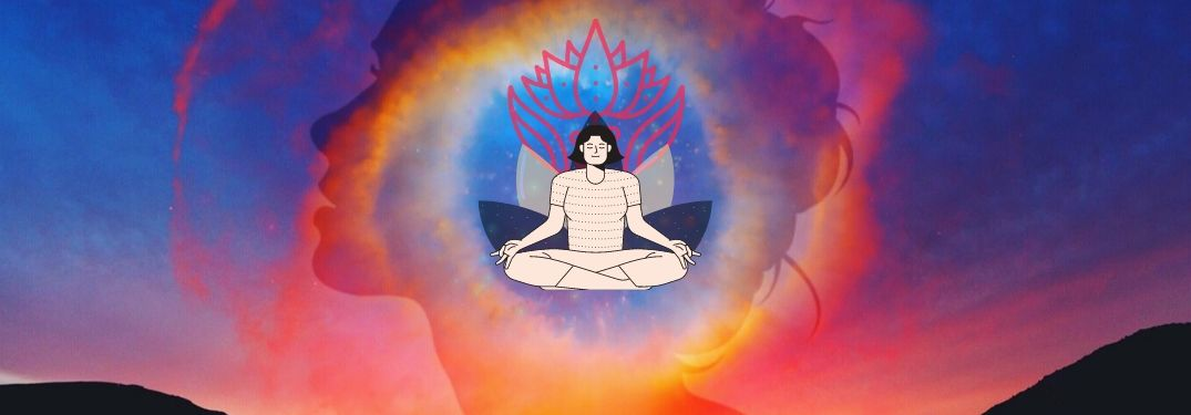 A woman meditates and experiences an expansive oneness with the cosmos