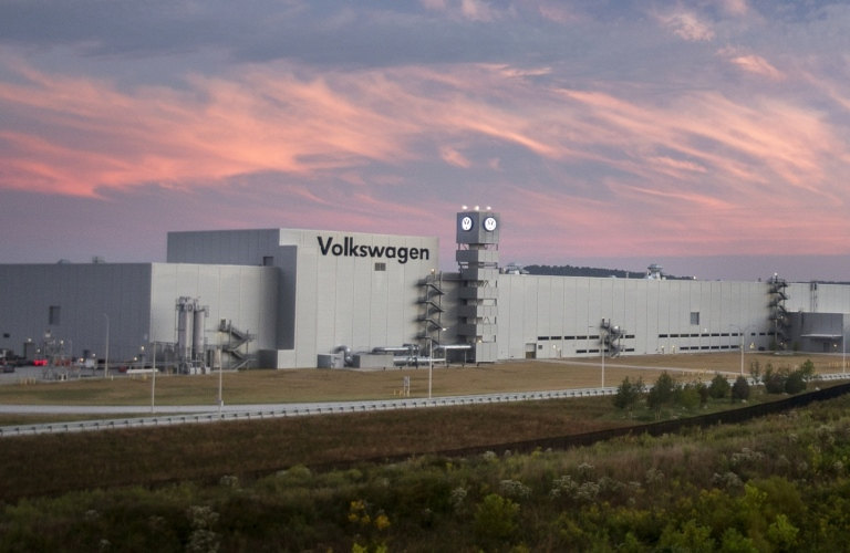 Exterior image of the Volkswagen Chattanooga Plant in Chattanooga, TN at sunset.