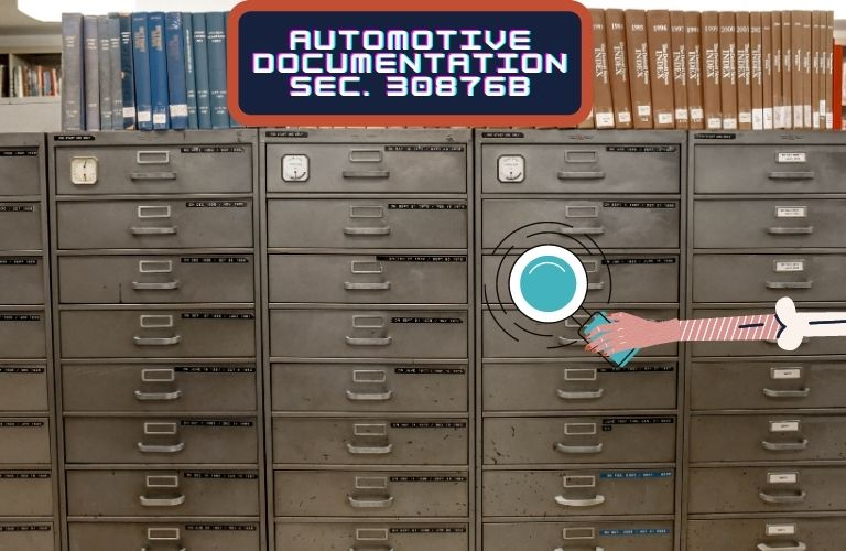 """A frail hand holds a magnifying glass and searches for requested documentation. A sign reads, """"Automotive Documentation Sec. 308768b"""""""