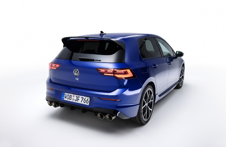 Rear-angled view of a 2022 Volkswagen Golf R