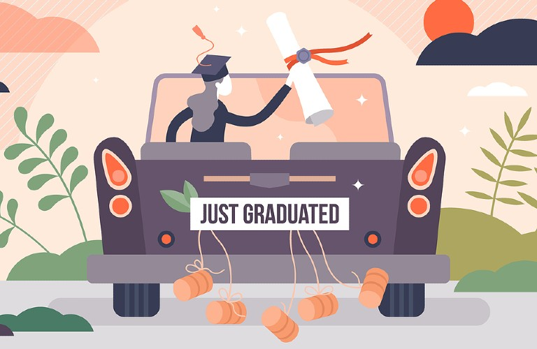 A cartoon figure of a girl driving a car that says Just Graduated while holding her diploma