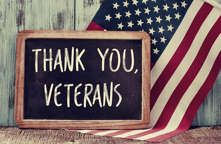 A chalk board with Thank You Veterans written on it with the American flag in the background