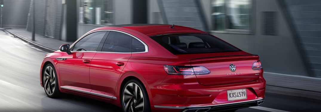 2021 Volkswagen Arteon driving down a forest road