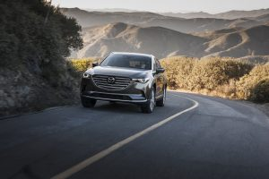 2018 Mazda CX-9 driving up a road in a mountainous area