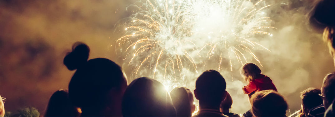 4thof July Fireworks near Hickory, NCwith image of a crowd watching fireworks