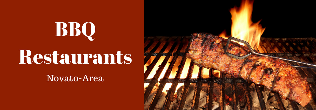 BBQ Restaurants Novato-Area Title and Meat Grilling over a Fire