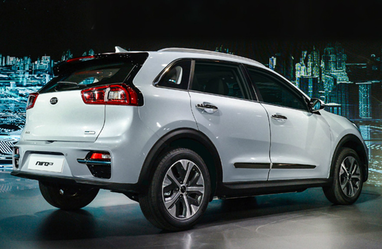 Rear View of White 2019 Kia Niro EV