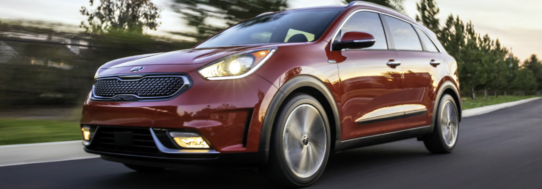 Front view of red 2019 Kia Niro