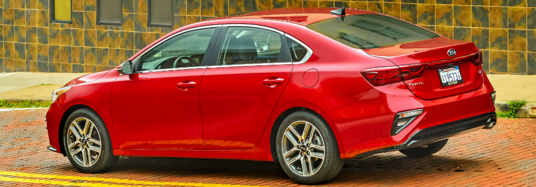 Rear view of red 2019 Kia Forte