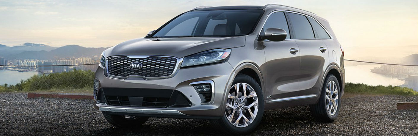 Grey 2019 Kia Sorento with a city skyline in the background