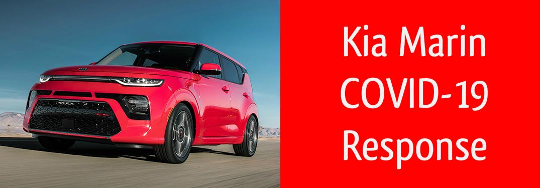 Kia Marin COVID-19 Response title and a red 2020 Kia Soul