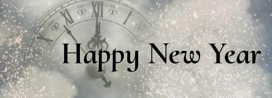 Happy New Year on silver sparkle background with clock